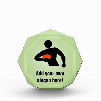 ラグビープレーヤー-あなた自身の文字とのスポーツマンのテーマ 表彰盾
