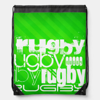 ラグビー; ネオン緑のストライプ ナップサック