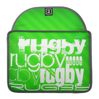 ラグビー; ネオン緑のストライプ MacBook PROスリーブ