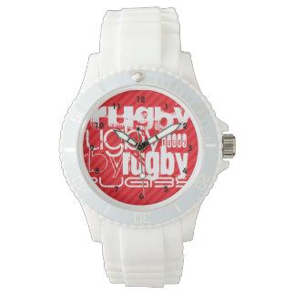 ラグビー; 深紅の赤のストライプ 腕時計