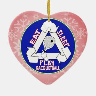 ラケットボール-繰り返し--を食べて下さい、眠らせて下さい、遊んで下さい セラミックオーナメント