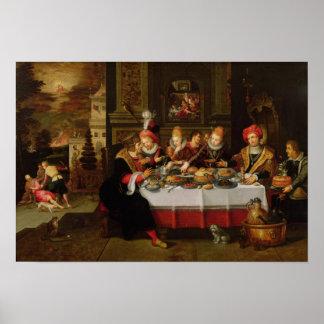 ラザロおよび富豪のテーブル ポスター