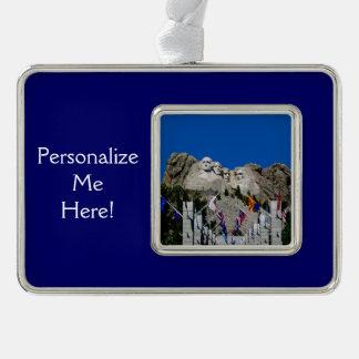 ラシュモア山のカスタマイズ可能な写真の記念品 シルバープレートフレームオーナメント