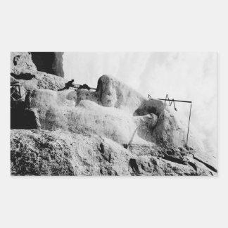 ラシュモア山の建築 長方形シール