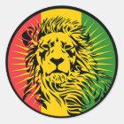 ラスタのレゲエのライオンの旗 ラウンドシール