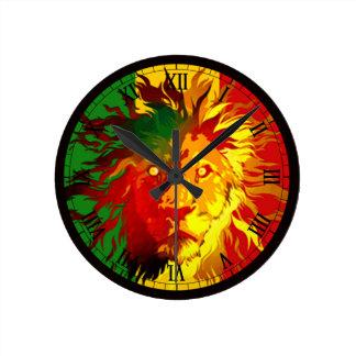 ラスタのレゲエのライオンの旗 ラウンド壁時計