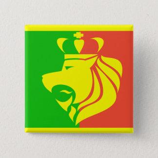 ラスタのレゲエの旗およびライオン 5.1CM 正方形バッジ