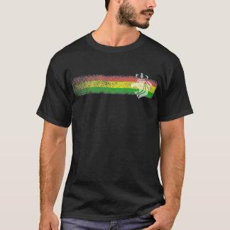 ラスタのレゲエは戴冠させたライオンと縞で飾ります Tシャツ