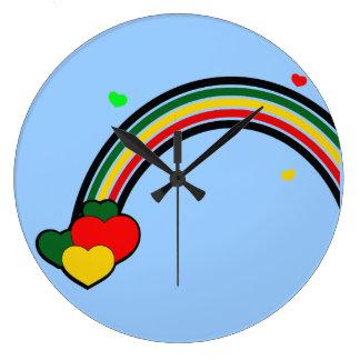 ラスタの虹およびハートの柱時計 ラージ壁時計