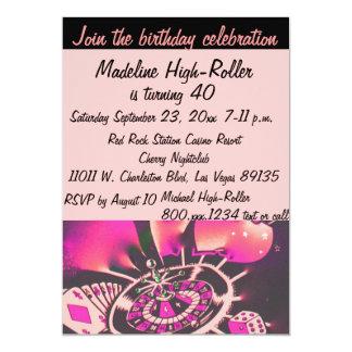 ラスベガスのカジノの誕生会のピンクの黒 カード