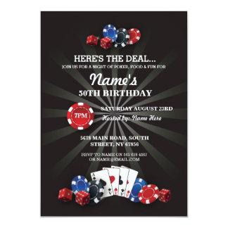 ラスベガスのカジノ夜誕生会の招待 カード