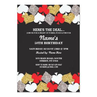 ラスベガスのカジノ夜誕生日のパーティの招待状 カード
