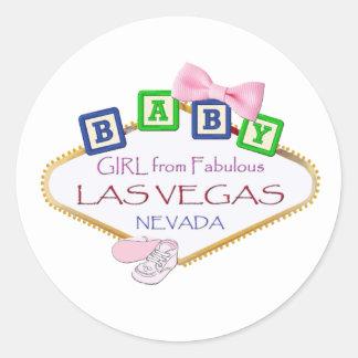 ラスベガスのステッカーからの女の赤ちゃん 丸形シール・ステッカー