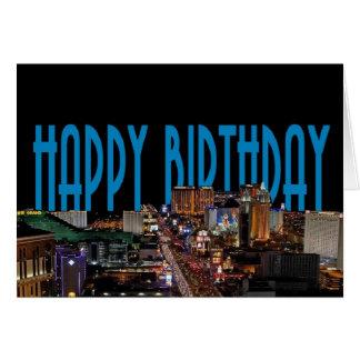 ラスベガスのストリップのハッピーバースデーカード青 カード