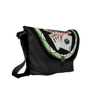ラスベガスの印および2人の王ポーカー用のチップ メッセンジャーバッグ