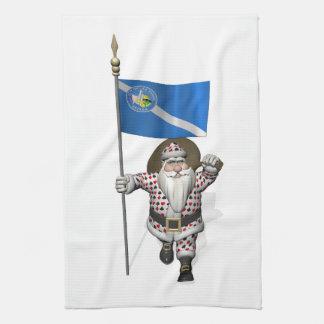 ラスベガスの旗を持つサンタクロース相場師 キッチンタオル