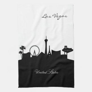 ラスベガスの白黒スカイライン キッチンタオル