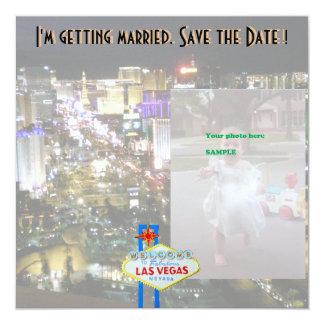 ラスベガスの結婚式の保存日付の写真カード 13.3 スクエアインビテーションカード