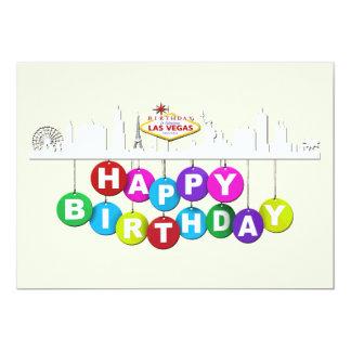 """ラスベガスの誕生日のマット5"""" x 7""""、招待状 12.7 x 17.8 インビテーションカード"""