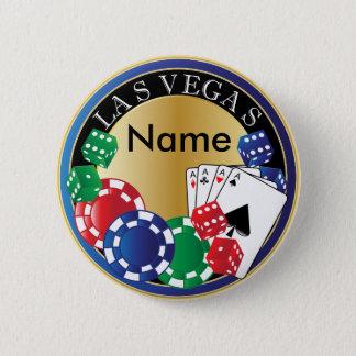 ラスベガスの青い相場師-サイコロ、カード、ポーカー用のチップ 缶バッジ