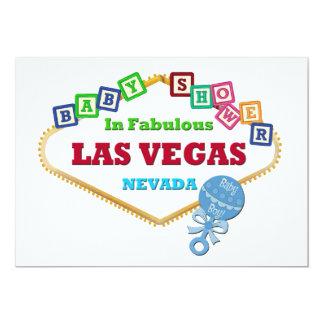 ラスベガスカード青いラッセル音の男の赤ちゃんのシャワー 12.7 X 17.8 インビテーションカード