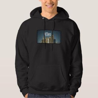 ラスベガスニューヨークのスカイラインの眺めのアートなフード付きスウェットシャツ パーカ
