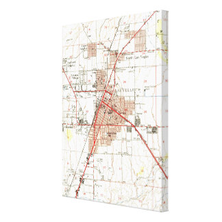 ラスベガスネバダ(1952年)のヴィンテージの地図 キャンバスプリント