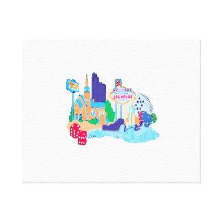 ラスベガスネバダtxtの水彩画都市グラフィック無しco キャンバスプリント