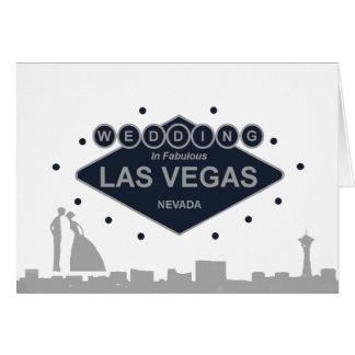 ラスベガス車の花嫁及び新郎のシルエットの結婚式 グリーティングカード