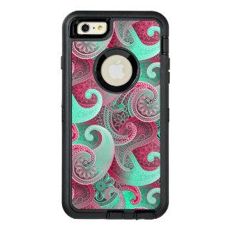 ラズベリーのピンクおよび水のペイズリーのダマスク織パターン オッターボックスディフェンダーiPhoneケース