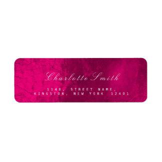 ラズベリーのピンクのガラス金属の差出人住所ラベル ラベル