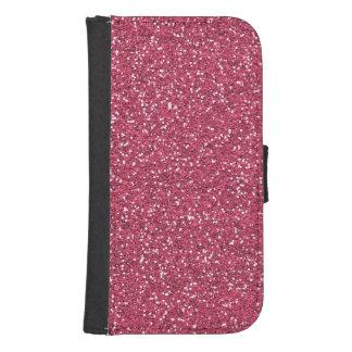 ラズベリーのピンクのグリッターの効果 ウォレットケース
