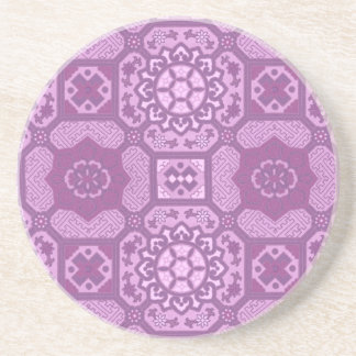 ラズベリーのピンクの幾何学的な花柄 コースター
