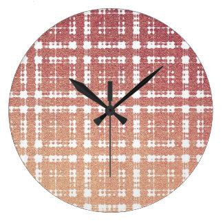 ラズベリーのピンクの赤面のモダンな格子縞はOmbraを得ました ラージ壁時計
