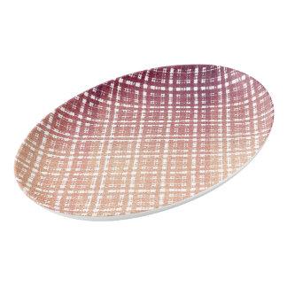 ラズベリーのピンクの赤面のモダンな格子縞はOmbraを得ました 磁器大皿