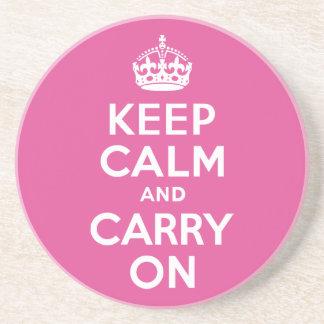ラズベリーのピンクのKeep Calm and Carry On コースター
