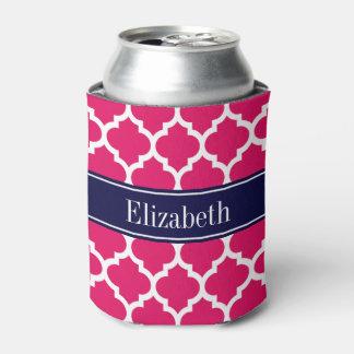 ラズベリーの白いモトッコ人#5の濃紺の名前のモノグラム 缶クーラー