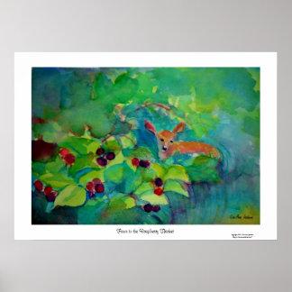 ラズベリーの雑木林の子鹿 ポスター