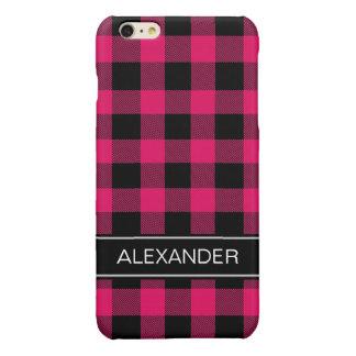 ラズベリーの黒いバッファローの点検の格子縞の名前のモノグラム 光沢iPhone 6 PLUSケース