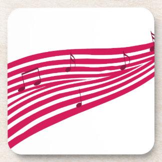 ラズベリー通りストライプのな音楽ロゴ コースター