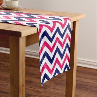 ラズベリー、濃紺、白いLGシェブロンパターン ショートテーブルランナー