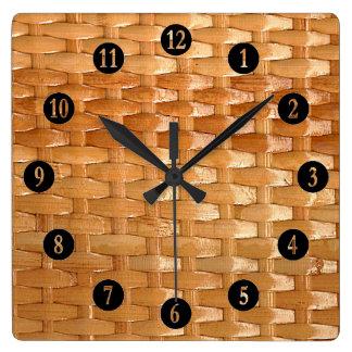 ラッカー柳細工のBasketweaveの質の一見 スクエア壁時計