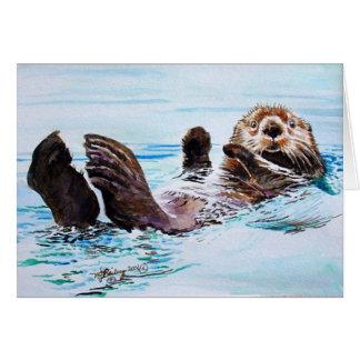 ラッコの水彩画 カード