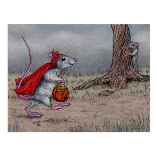 ラットの悪魔のハロウィンの歩く ポストカード