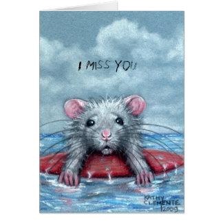 ラットの悲しいサーファー、私はメッセージカードを恋しく思います カード