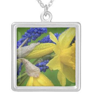 ラッパスイセンおよびhyacinthの花の詳細。 信用 シルバープレートネックレス