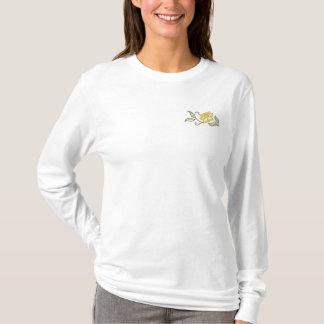 ラッパスイセンのスプレー 刺繍入り長袖Tシャツ