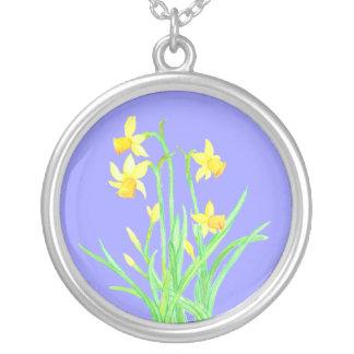 ラッパスイセンのネックレス: 3月の誕生月の花 シルバープレートネックレス