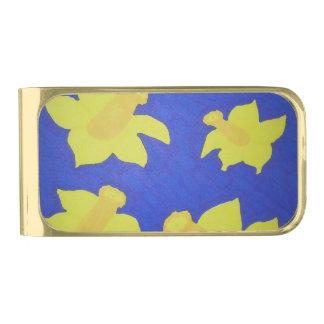 ラッパスイセンのポップアートの青 ゴールド マネークリップ
