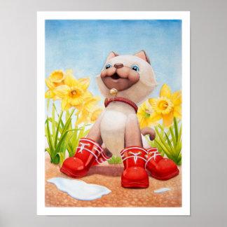 ラッパスイセンの子供部屋のプリントを持つ子ネコ ポスター